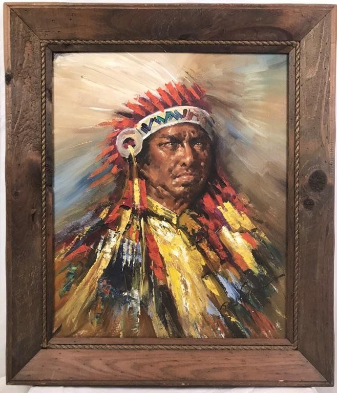 Indian Chief Portrait by Roy Pierce