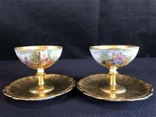 Dresden Hand Painted Footed Cups and Saucers (2)