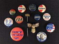 Gold Bug, Elephant & Political Campaign Buttons