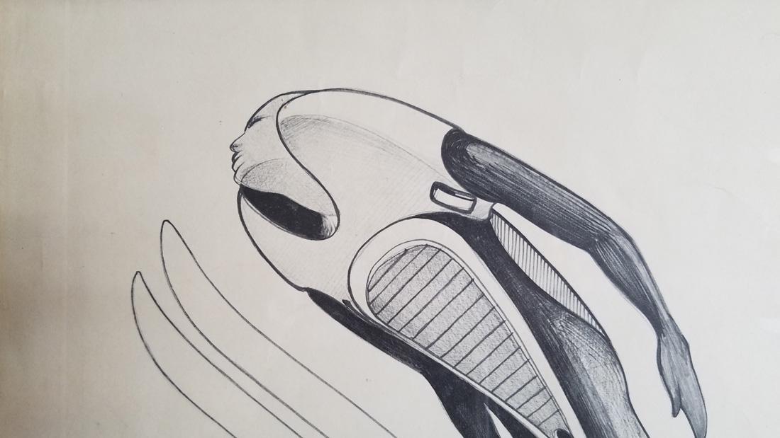 Art Deco Ski Jumper Hand Signed Print Surrealist - 4