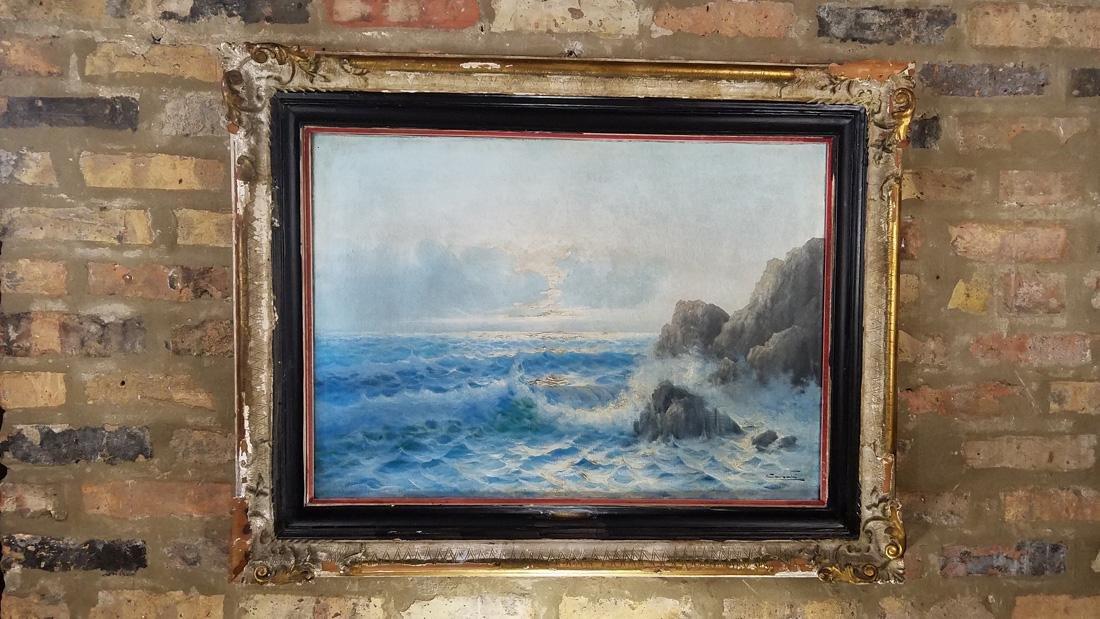 Carlo Cassati Seascape Oil on Canvas