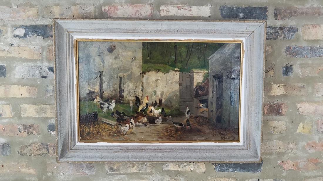 Farm Scene Oil on Canvas 19th Century