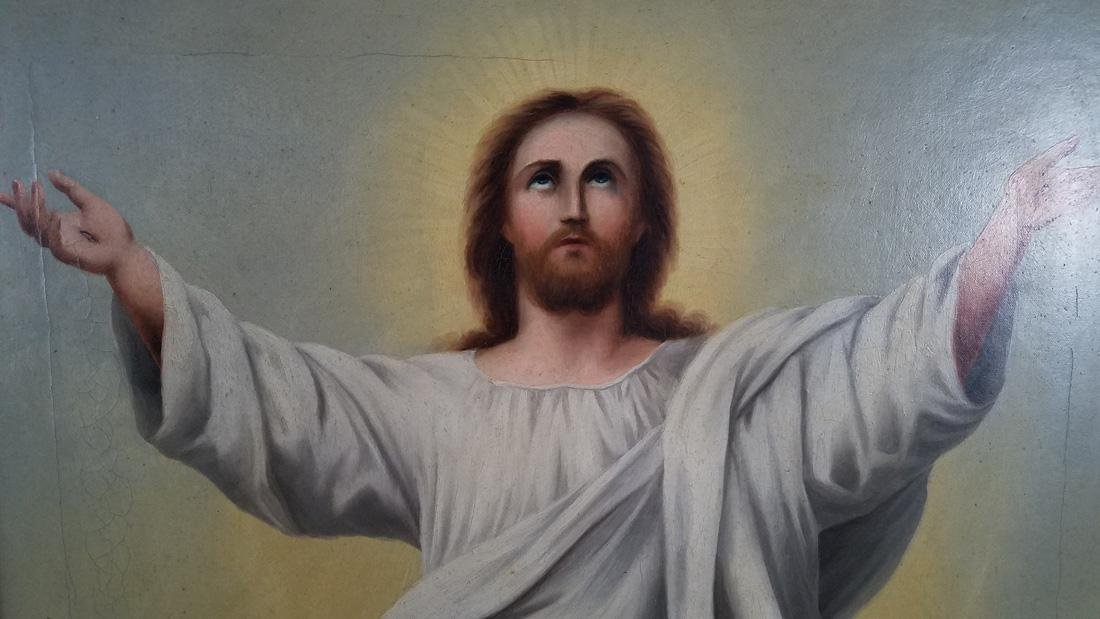 Religious Oil on Board of Jesus 1910 - 2