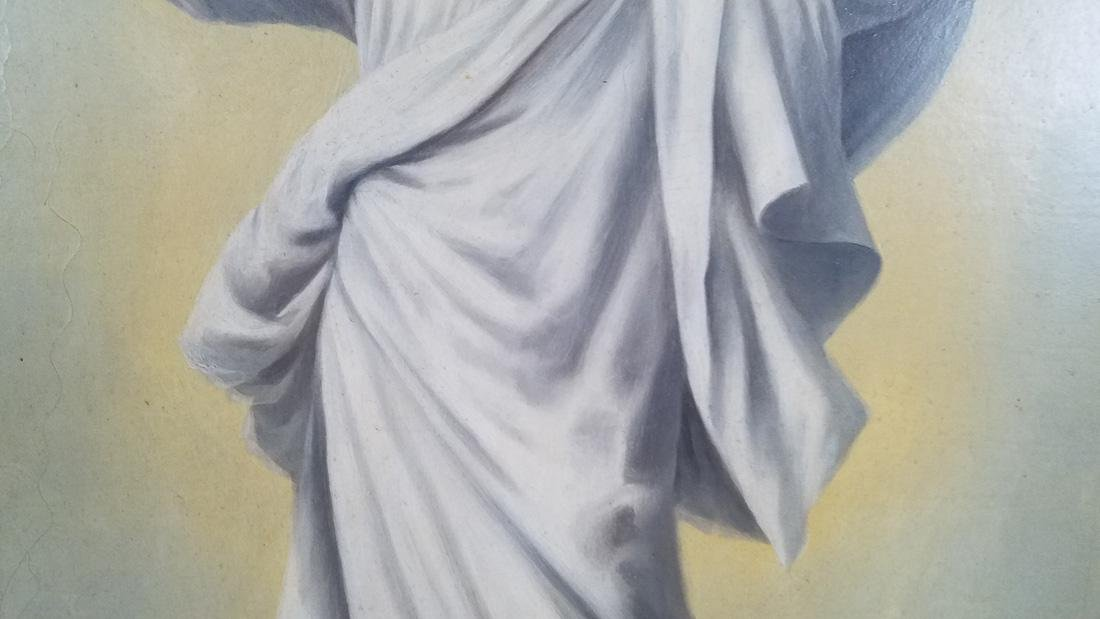 Religious Oil on Board of Jesus 1910 - 4