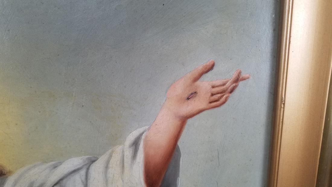Religious Oil on Board of Jesus 1910 - 7