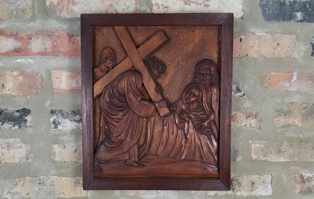 Signed 19th Century Wood Carved Religious Relief