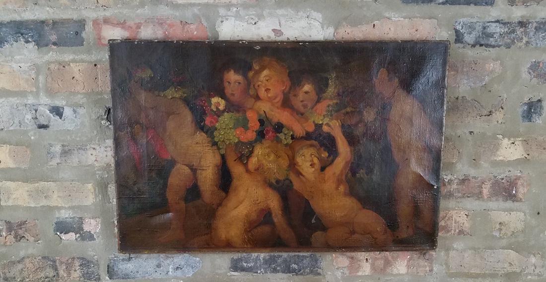18th/19th Century Oil on Canvas of Putti Cherub Scene