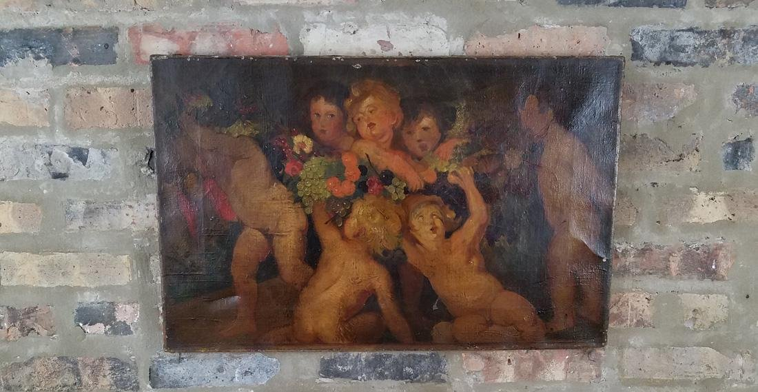 18th/19th Century Oil on Canvas of Putti Cherub Scene