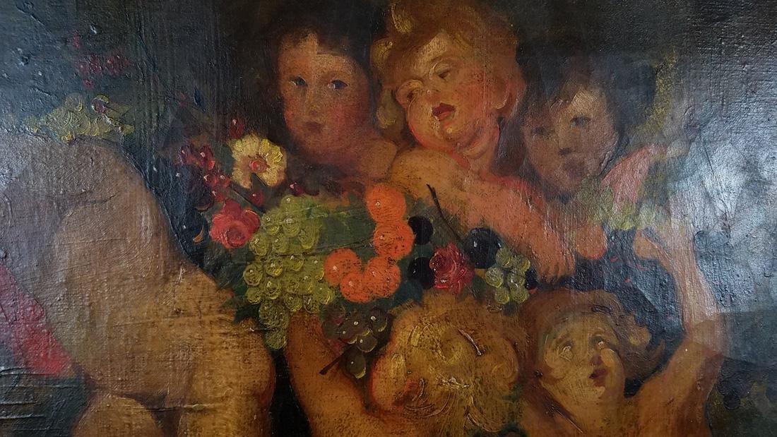 18th/19th Century Oil on Canvas of Putti Cherub Scene - 2