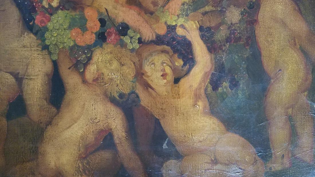 18th/19th Century Oil on Canvas of Putti Cherub Scene - 4