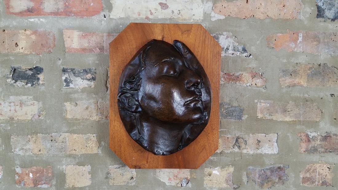 Early 20th C. Art Nouveau Era Bronze Death Mask