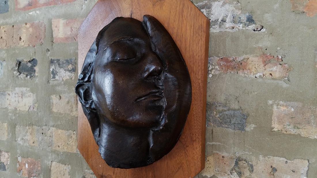 Early 20th C. Art Nouveau Era Bronze Death Mask - 2