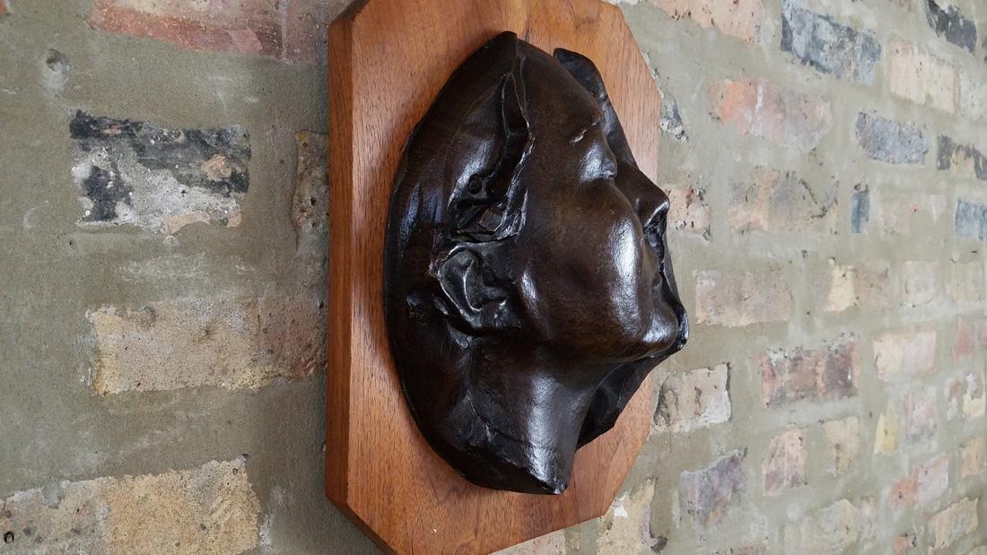 Early 20th C. Art Nouveau Era Bronze Death Mask - 3