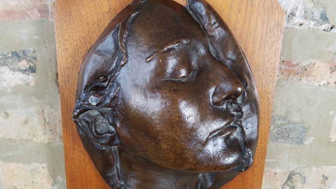 Early 20th C. Art Nouveau Era Bronze Death Mask - 4
