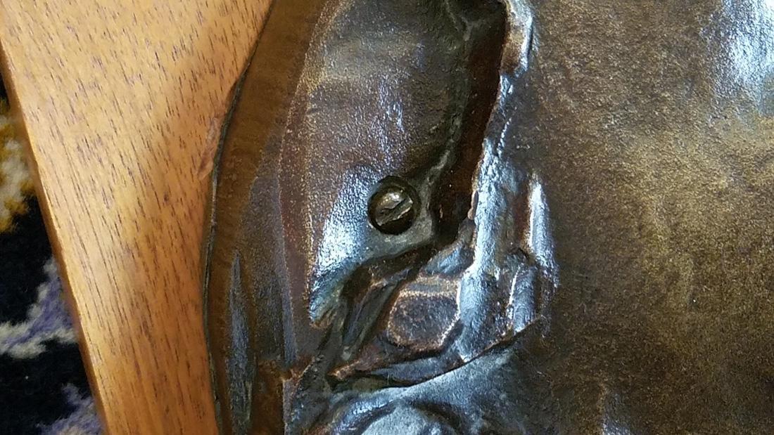 Early 20th C. Art Nouveau Era Bronze Death Mask - 6