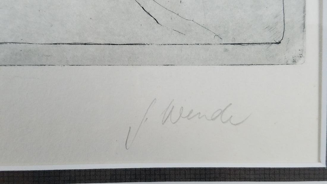 Abstract Signed Etching Illegible Signature - 5