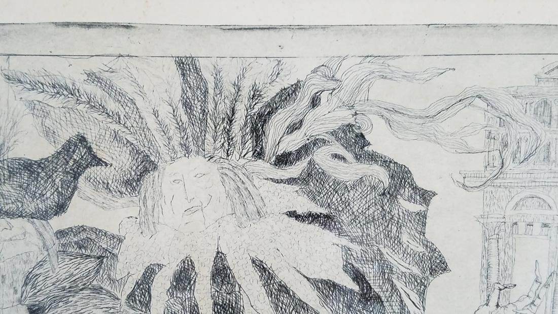 Abstract Signed Etching Illegible Signature - 7