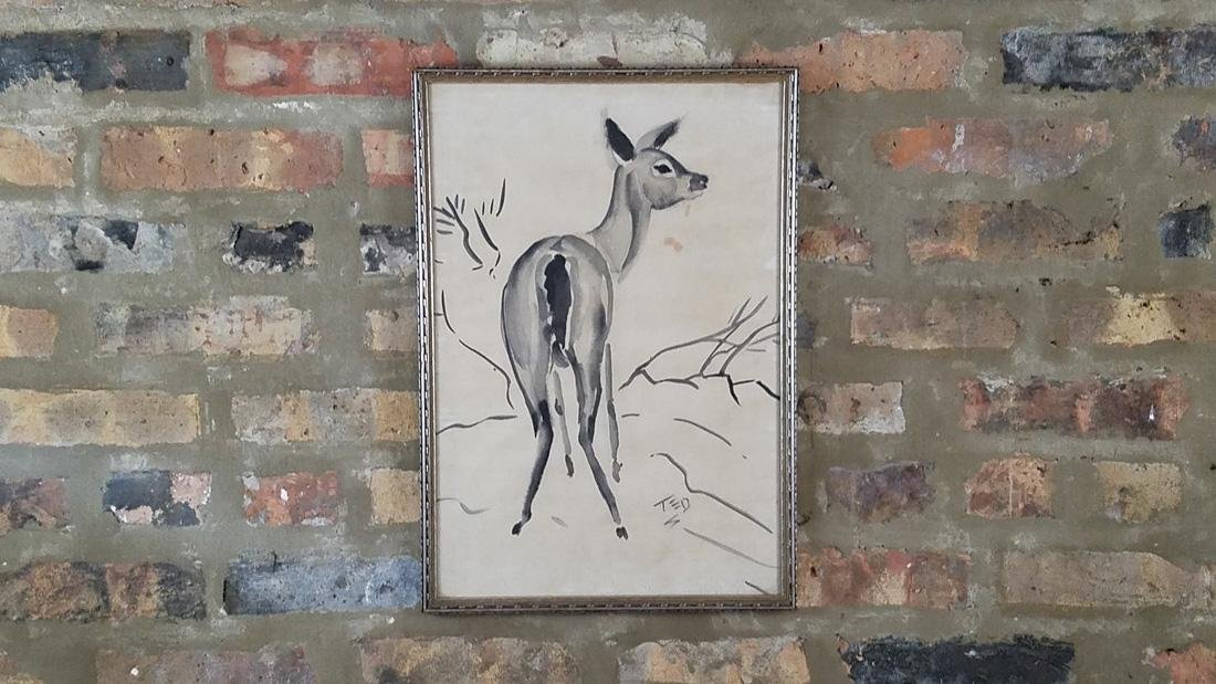 Early Ink Wash Drawing of a Deer, Signed on Laid Paper