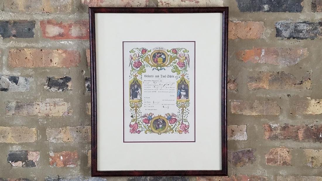 Antique German Birth Certificate dated 1855, Hand