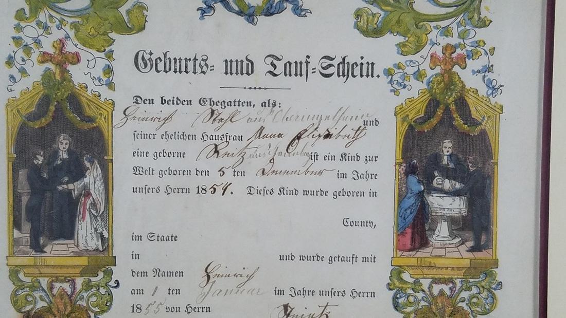 Antique German Birth Certificate dated 1855, Hand - 2