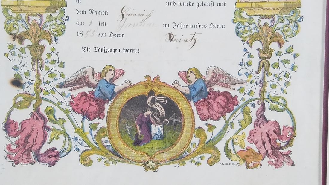 Antique German Birth Certificate dated 1855, Hand - 3