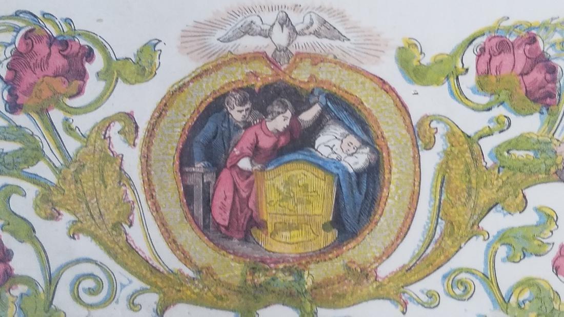 Antique German Birth Certificate dated 1855, Hand - 5