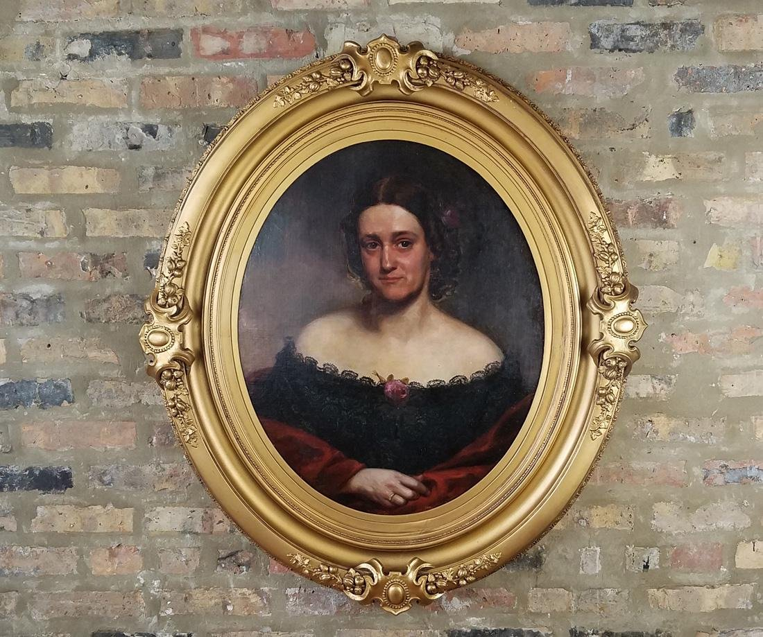 18th C. Portrait of Woman in Monumental Gilt Frame