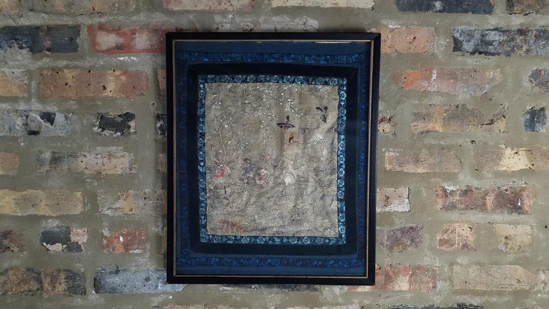 Early Chinese Antique Forbidden Stitch Panel