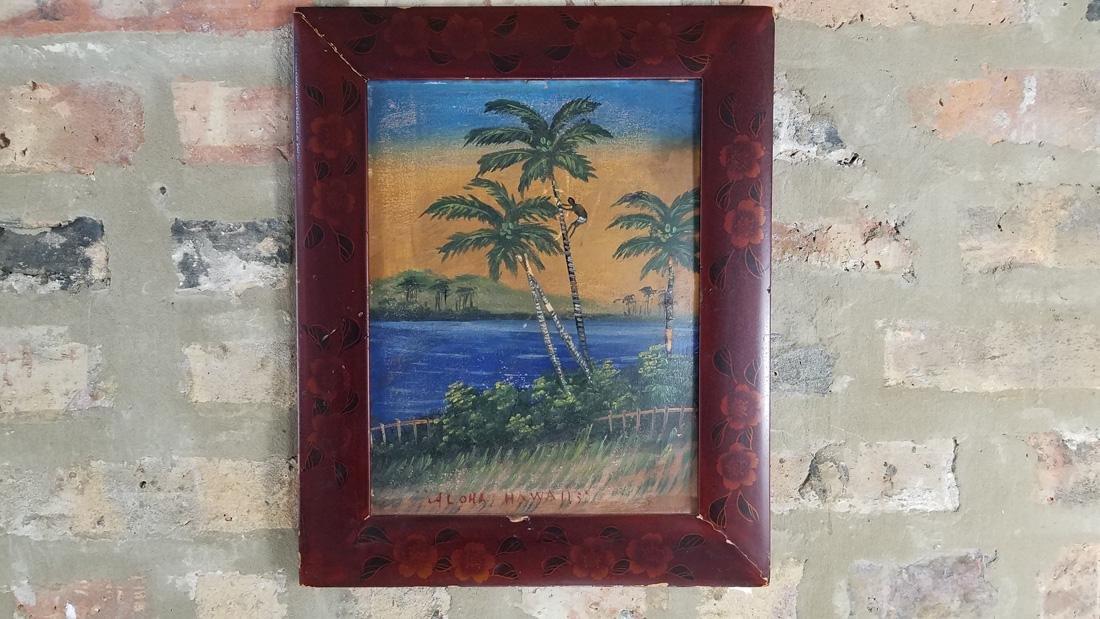 1920s Hawaii Souvenir Oil Painting on Board, Japanese