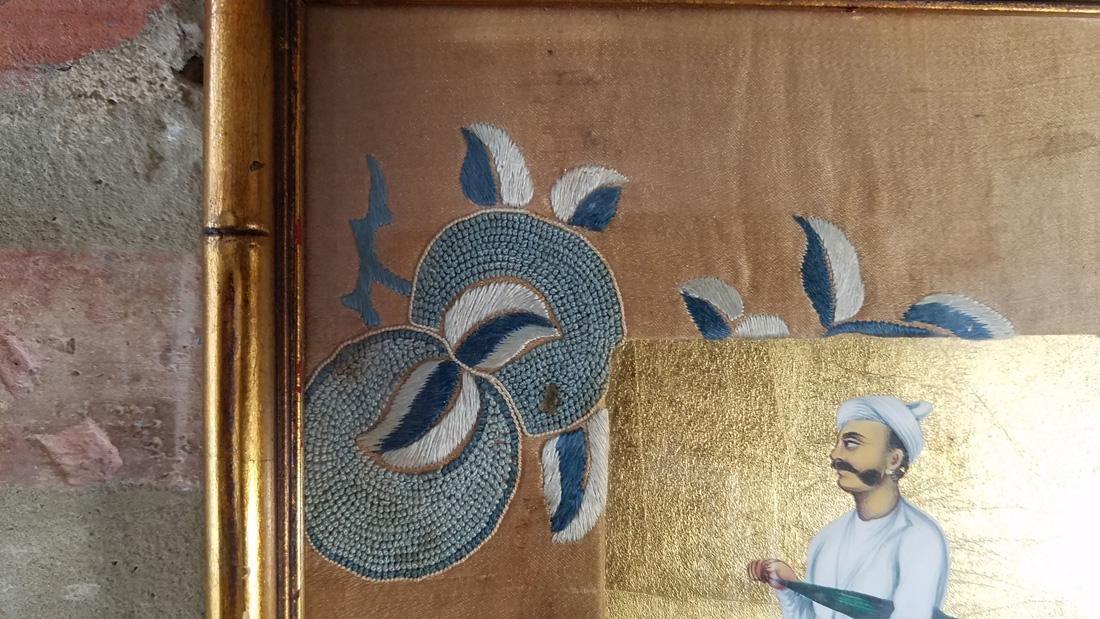 Antique Indian Miniature Portrait, Hand Painted Gold - 4