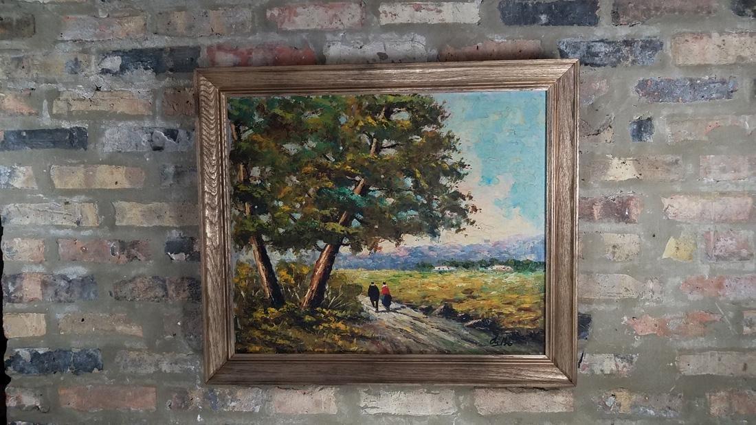 20th C. Signed French Impressionist Landscape Scene