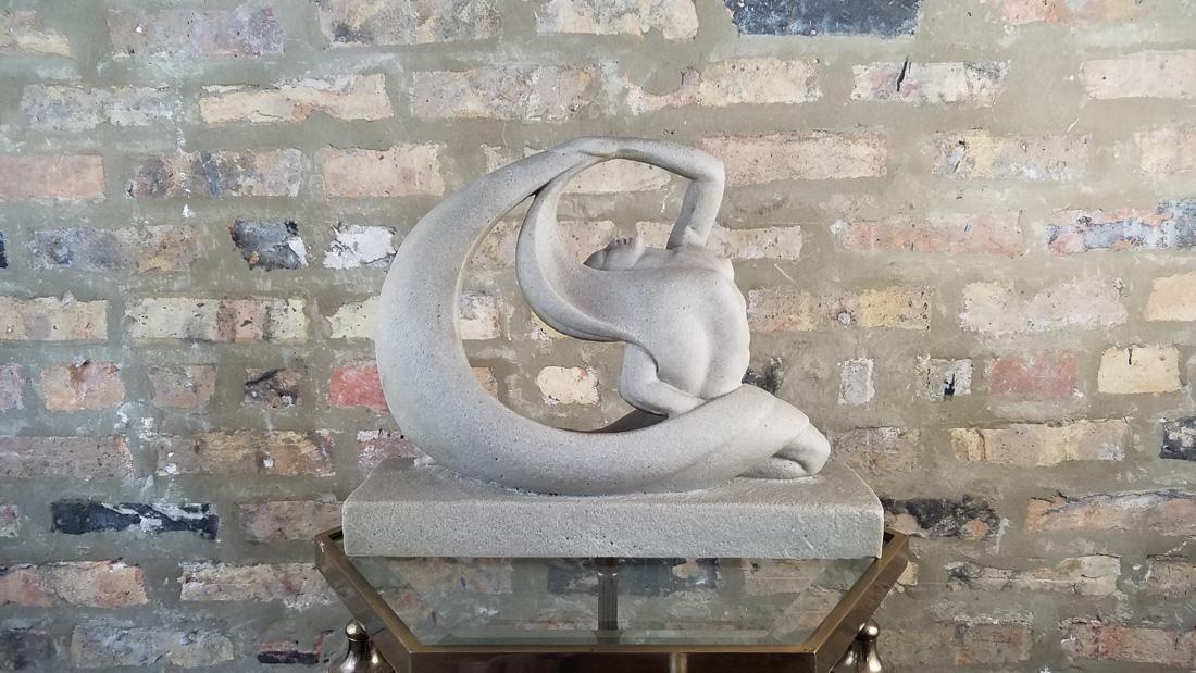 Art Deco Limestone Dancer Sculpture - 3