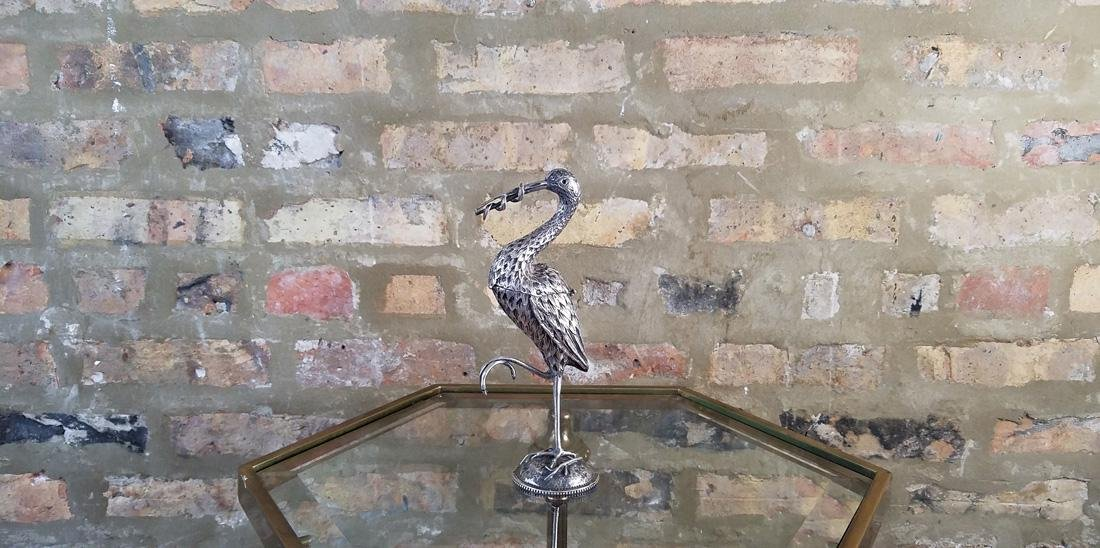 Dutch Sterling Heron Spice Container