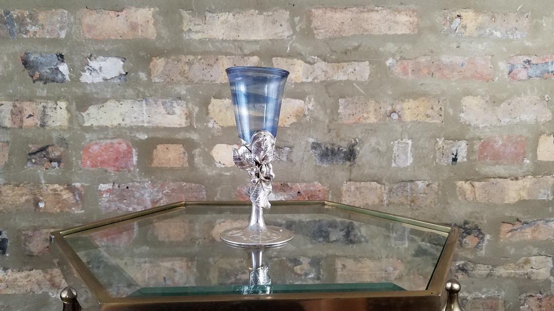 Vintage Sterling and Blown Glass Goblet Israel