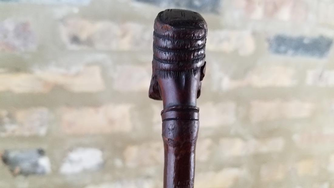 Antique French Walking Stick Depicting Middle Eastern - 2