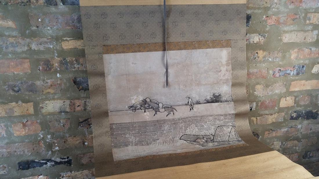 Early Japanese Hand Painted Scroll