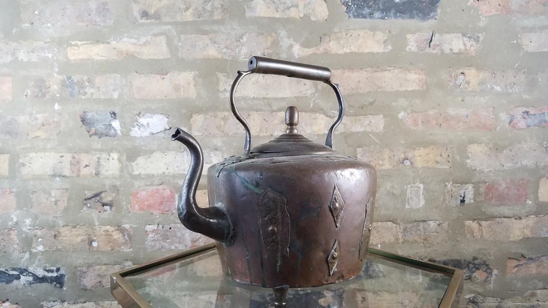 Antique Copper Kettle SIgned - 2