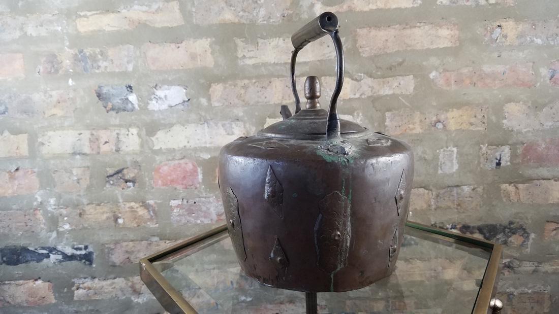 Antique Copper Kettle SIgned - 3