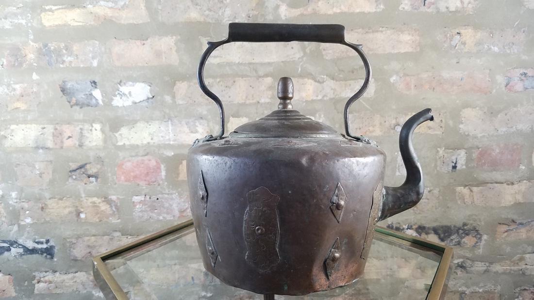 Antique Copper Kettle SIgned - 4
