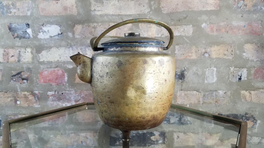 Antique Chinese Brass Tea Kettle, Signed - 3