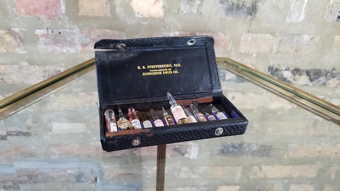 Antique Medical Vials in Case Poison Bottles