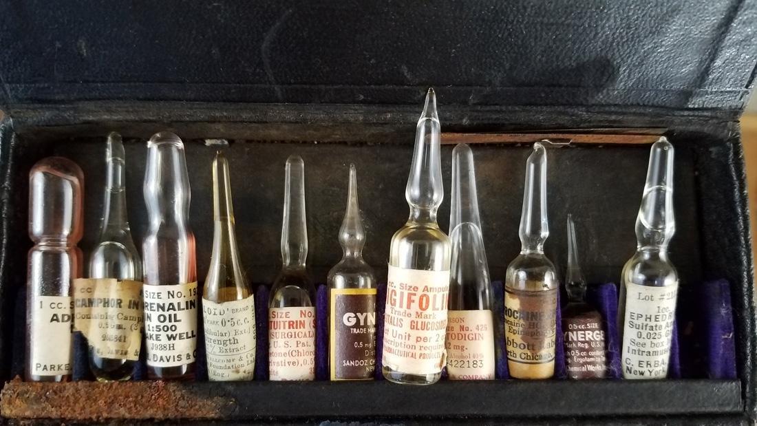 Antique Medical Vials in Case Poison Bottles - 3