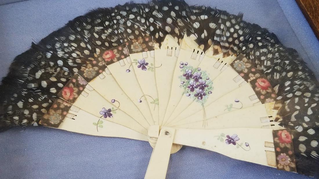Chinese Vintage Folding Hand Fan Framed w/ Brooch - 2
