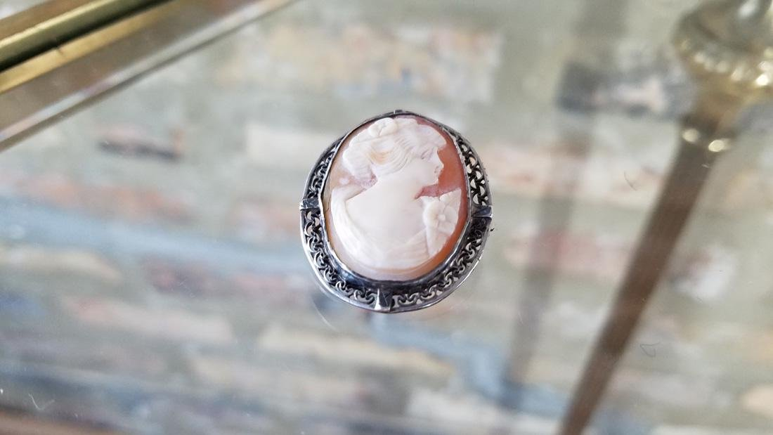 Sterling Silver Antique Cameo Brooch - 3