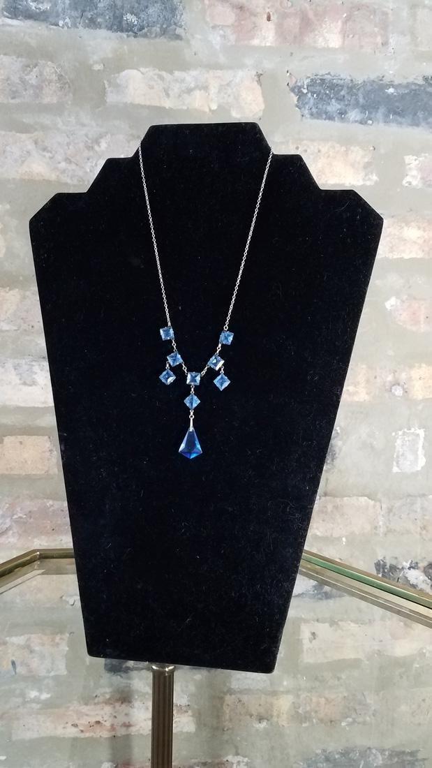 Art Deco Sterling Czech Glass Necklace