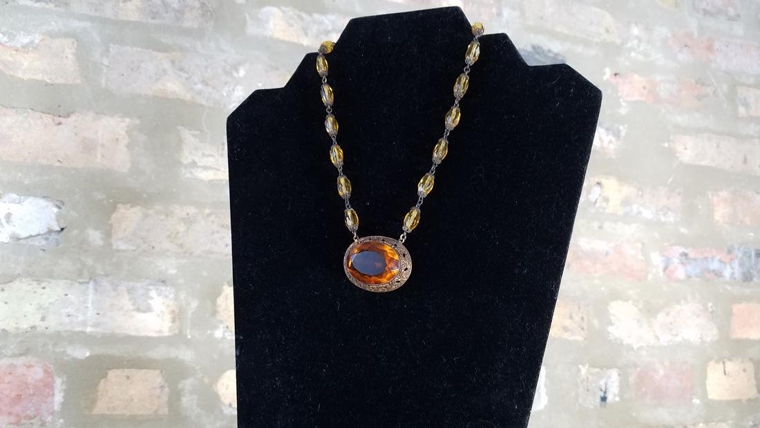 Edwardian Amber Glass Czech Necklace