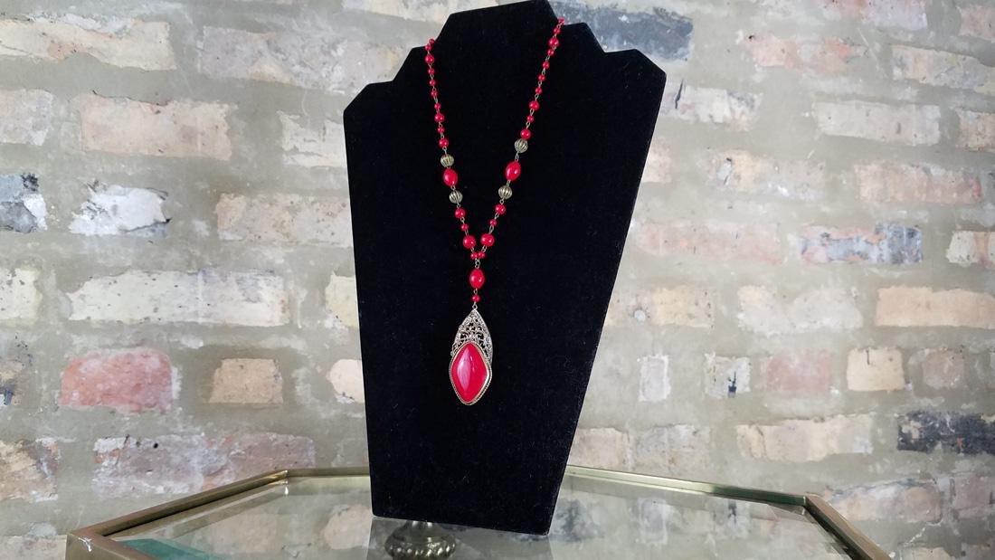 Art Nouveau Czech Glass Red Necklace