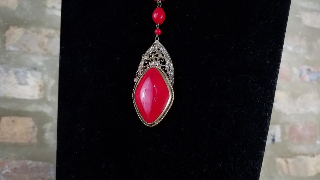 Art Nouveau Czech Glass Red Necklace - 2