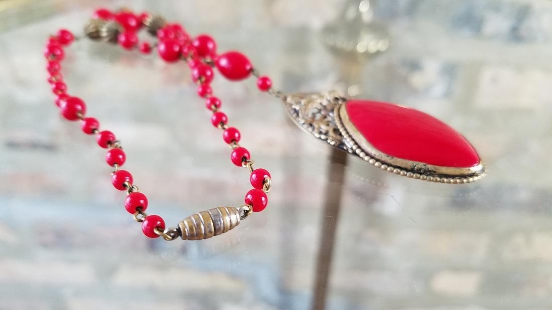 Art Nouveau Czech Glass Red Necklace - 3