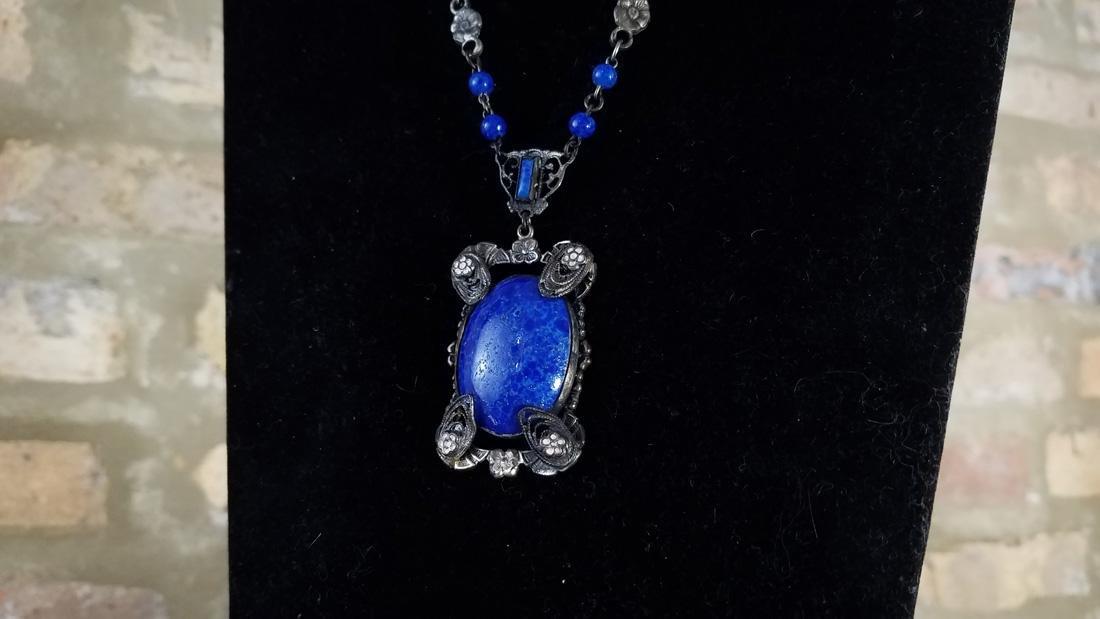 Art Nouveau Czech Glass Lapis Necklace - 2